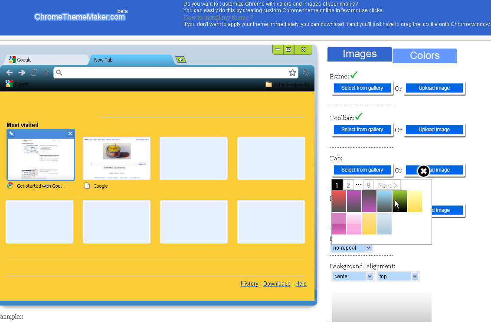 google chromeのテーマを自作出来るネットサービス 自分好みのデザインで